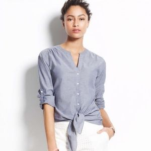 Ann Taylor Chambray Tie Front Shirt
